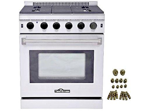 Thor Kitchen 30 Stainless Steel Gas Range Oven With 5 Burner Lrg3001u Lp Conversion Kit Wantitall
