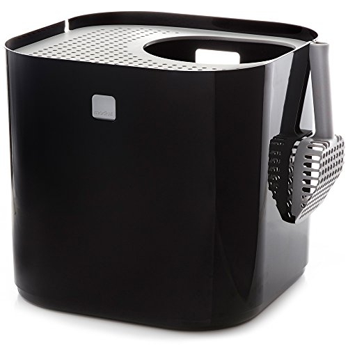 Modkat Top Entry Litter Box - Reduces Litter Tracking and Odors, Includes Scoop and Reusable Liner - Black
