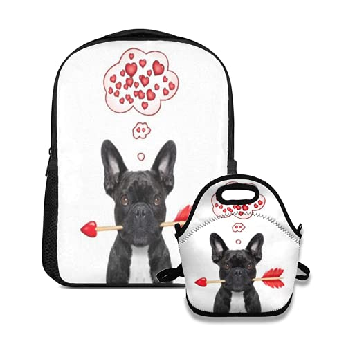 backpack and lunch bag set valentines french bulldog dog in love holding a cupids arrow with mouth thinking and hoping for love in life For School College Office Organizer Teens Girls Adults