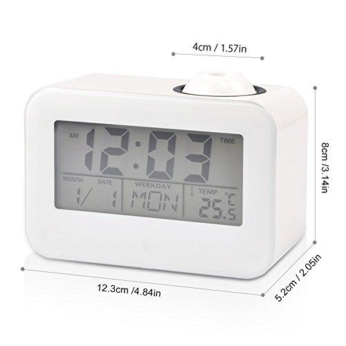 Projektionswecker, koulate LCD-Display Wecker Sprachsteuerung Deckenprojektion mit Temperatur Datum Kalender Schlummer für Schlafzimmer nach Hause Auto