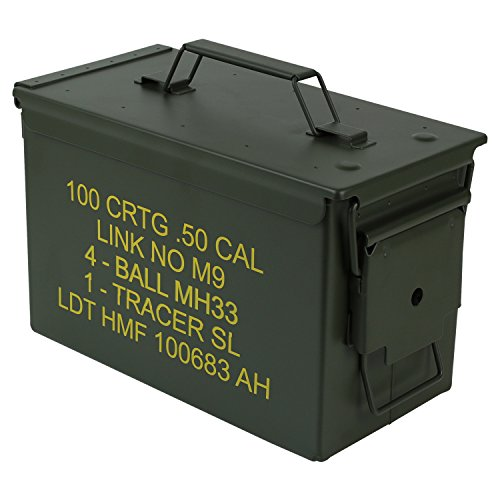 HMF 70011 Munitionskoffer, US Ammo Box, Metallkiste, 30 x 19 x 15,5 cm, grün