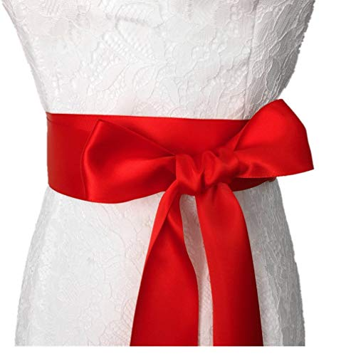 STDRESS Wedding Sash Bridal Belts Simple Classic Silk Ribbon Sash for Dress (Red)
