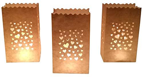 10 Stück Papier Lichttüten Lichtertüten Herzen für Teelichter Kerzen Laternen weiß Kerzenhalter Deko Tischdeko Kerzentüten Hochzeit
