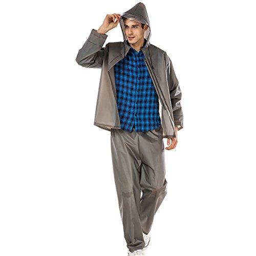 Vestes anti-pluie QFF Raincoat Split Outdoor Set Adult Ride Hommes et Femmes Transparent Big Hat Motorcycle Poncho (Couleur : Gris, Taille : L)