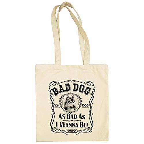 Diver Bebé Bolsa de tela frase perro raza Siberian Husky Bad dog as bad as I wanna be - Beige, 38 x 42 cm