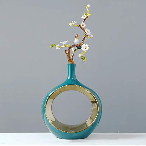 TWDYC Moderne minimalistische keramische Hohle vasen Wohnzimmer tv Cabinet Desktop Handwerk Dekoration kreative Kunst Blume vase Dekoration