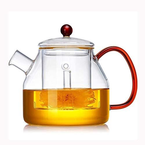 Bouilloire induction Épaissir la théière en verre avec une théière transparente infuseuse avec une petite tasse en acier inoxydable Filtre de filtre 900ml pour le bureau de la maison WHLONG