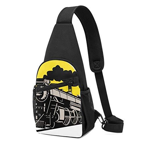 Train und Eisenbahn bedruckter Sling-Rucksack, leichter Schulter-/Brust-Rucksack, Reise- und Wanderrucksack, Crossbody-Schultertasche, Schwarz - Schwarz - Größe: Einheitsgröße