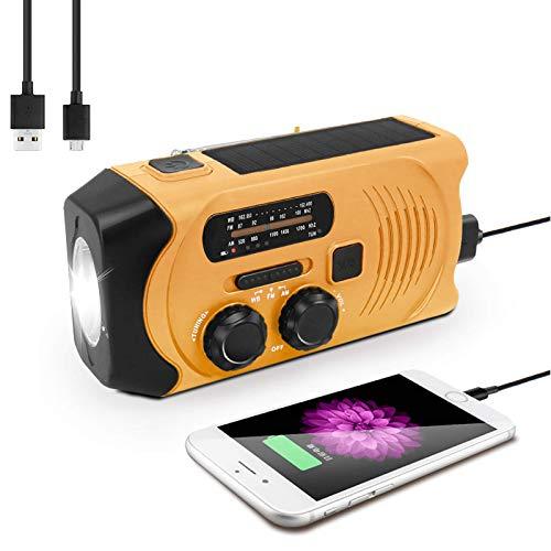【2021 Newest】 Emergency Solar Hand Crank Radio, Yokgrass Self Powered Portable AM/FM/NOAA Weather Radio, LED Flashlight, 2000mAh Power Bank and SOS Alarm