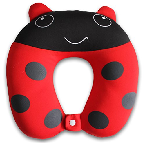 Nido Nest Kids Travel Neck Car Pillow - For Child Toddler Airplane Cars, LADYBUG
