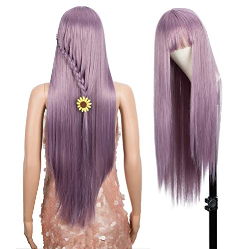 """Style Icon 32"""" Long Straight Wig With Flat Bangs Synthetic Lavender Purple Wigs Daily Wig Cosplay Wig"""