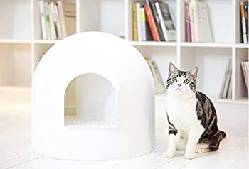 JYZT Blanc Semi-fermé bac À Litière pour Chat Grand Igloo Toilette De Chat Facile À Nettoyer, Résistant Aux Fuites Et Aux Odeurs, pour Améliorer Votre Maison