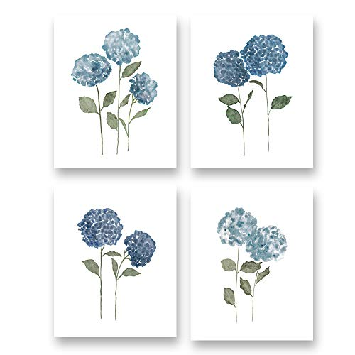 """Watercolor Blue Flower Art Print-Blossom Hydrangea Floral Canvas Wall Art-(8""""X10""""X4 pieces, Unframed)-Perfect for Living Room Girls Bedroom Decoration"""