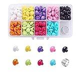 Caja con botones semicirculares de colores de 10 mm, botones de plástico en 9 colores, para manualidades