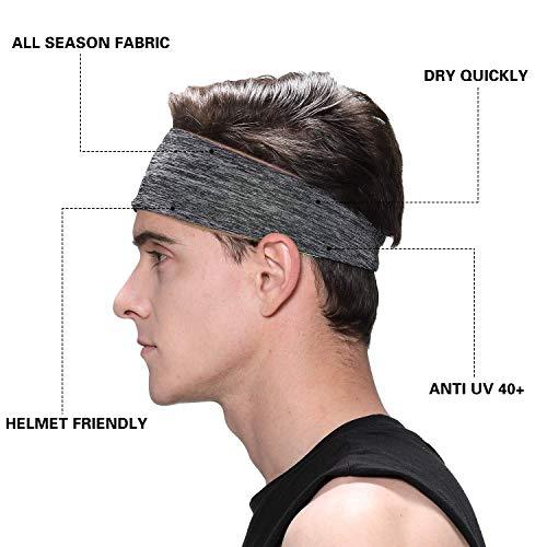 Braylin Men's Headbands, 3 Pack Sweat Workout Headbands for Men, Sport Cooling Headbands for Running Crossfit Fitness Yoga Cycling Hiking, Elastic Sweat Wicking Non Slip