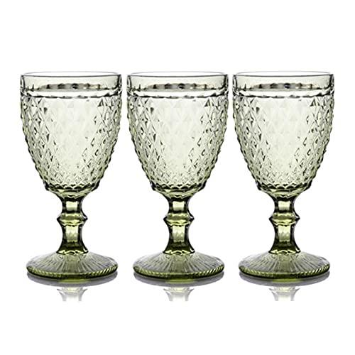 shiqi Gafas De Bebidas De Vidrio De Vino Portables 3pcs / Lot Bandeja De Boda Vino Vino Cristalería Gafas De Agua Apto para Beber Navidad 300ml 10oz (Color : 3 pcs Set Style 9)