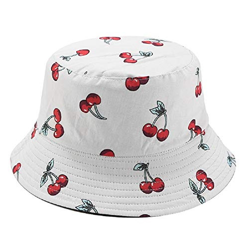 SYcore Summer White Cute Cherry Travel Bucket Hats for Women Teens Girls, Fruit Print Packable Reversible Beach Sun Protection Bucket Hat (White Black Cherry Z)