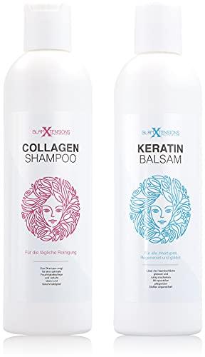 Extensions Shampoo und Spülung Set für Echthaar, Extensions Pflege Haarverlängerungen Perücken und Haarteile, 250ml