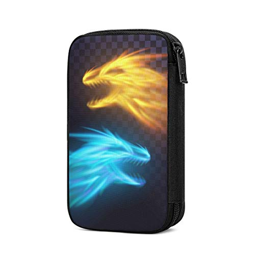 Travel Cable Organizer Two Fire Dragons Flame Blaze Best Universal Electronics Accessories Storage Bag for Cord, Earphone, USB Flash Drive, Memory Card and More, Lightweight and Compact