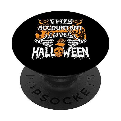 Este contador ama a Halloween Skeleton Accounting Secretario PopSockets PopGrip Intercambiable