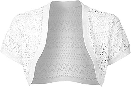 Asenie Women Sheer Short Sleeve Lace Bolero Shrug Jacket Cardigan Top White