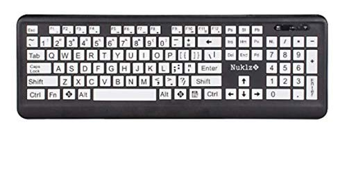Nuklz N Large Print Full Size Wireless Computer Keyboard | High Contrast Black & White Keys | Soft Buttons for Quiet Typing & Gaming | Ideal for Visually Impaired, Beginners and Seniors | Plug & Play