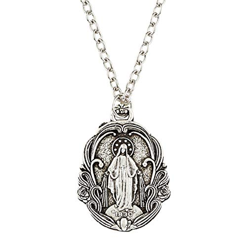 Our Lady of Grace Pendant with 18 Inch Chain Necklace