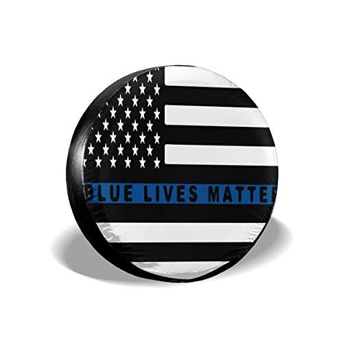 GOSMAO Cubiertas para Llantas para fanáticos de los Deportes Blue Lives Matter - Cubierta Delgada para Llantas de Rueda de Repuesto con Bandera de línea Azul para remolques, 16 Pulgadas