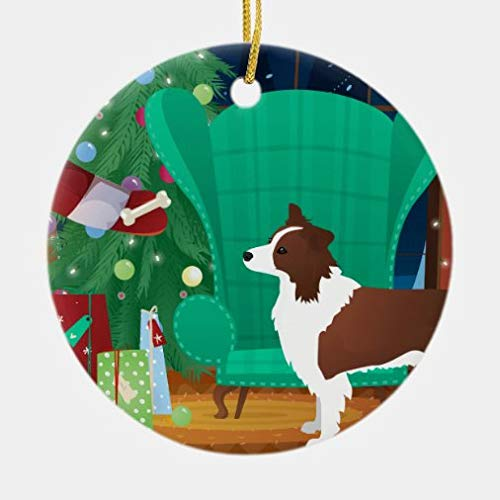 rfy9u7 Red Border Collie Christmas and Santa's Gift Ceramic Ornament, Xmas Decorative Hanging Ornaments, Christmas Decoration, 3 Inch