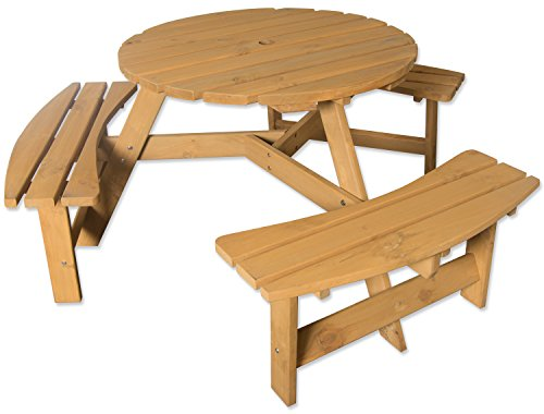 Maribelle 6 Seater Stained Pine Round Wooden Bench/Picnic Table - For Garden, Pub, Patio