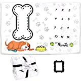 Baby Monthly Milestone Blanket Boy, Girl or Pet-60x40 inch Premium Extra Soft Fleece (300 GSM Thickness) , Baby Milestone Blanket Includes Marker Piece , Baby Month Blanket , Baby Blanket (Dog)