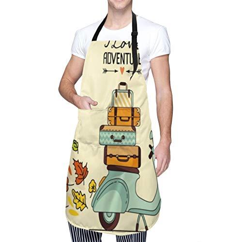 COFEIYISI verstellbare Küchenschürzen,Laggage Retro Vintage Roller Gepäck Vespa Fahrt Italien Italien Cool Bike Design,Grillschürze,latzschürze,Küchenschürze für Frauen Männer