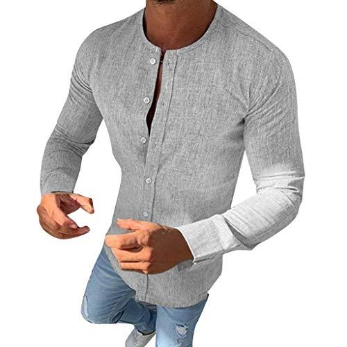 SANNYSIS Herren Freizeithemd Hemd Langarm Regular Fit Stehkragen Einfarbig für Männer Arbeitshemden Hemden Slim fit Oberhemden Bügelfrei Henley Sommerhemd Freizeithemden (L, Grau)