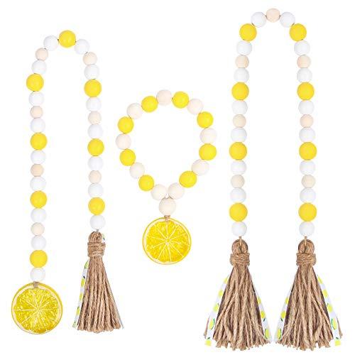 RUIRUICO 3 Pieces Lemon Wood Bead Garland Set with Rustic Tassel for Farmhouse Boho Home Holiday Decor