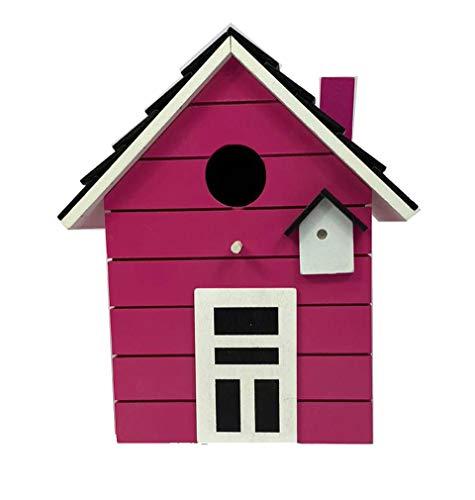 CasaJame Pajarera de madera para balcón y jardín, nido, color rosa, casa para pájaros, 20 x 17 x 12 cm
