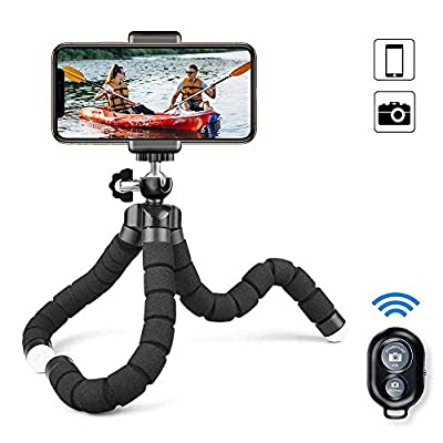 MAEXUS Camera Flexible Tripod, Phone Tripod with Bluetooth Remote and Universal Clip, 360° Adjustable Mini Travel Tripod Portable Camera Stand Holder for iPhone Android Selfie SLR Sports Camera from MAEXUS