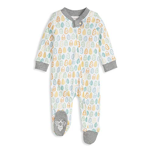 Burt's Bees Baby Baby Sleep & Play, Organic One-Piece Romper-Jumpsuit Pj, Zip Front Footed Pajama, Mixed Eggs, Newborn