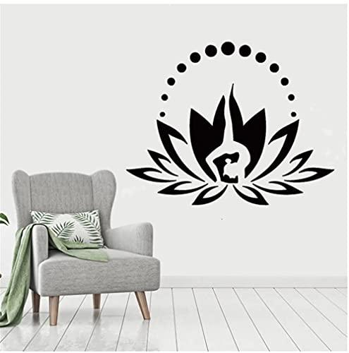 Calcomanía de vinilo de flor de loto, calcomanía de meditación Yoga Zen, decoración de dormitorio bohemio, calcomanía de ventana, decoración de pared de Mandala 72x57cm