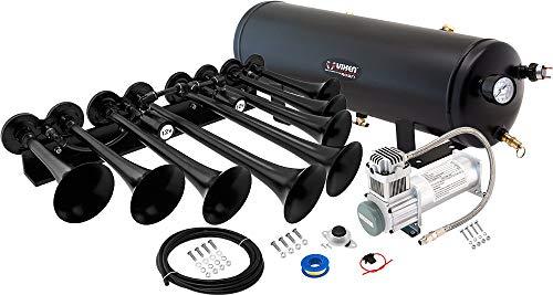 Vixen Horns Train Horn Kit for Trucks/Car/Semi. Complete Onboard System- 200psi Air Compressor, 3 Gallon Tank, 8 Trumpets. Super Loud dB. Fits Vehicles Like Pickup/Jeep/RV/SUV 12v VXO8330/8124XB
