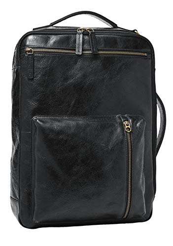 Fossil Buckner Convertible Backpack Black Leather for Men MBG9520001