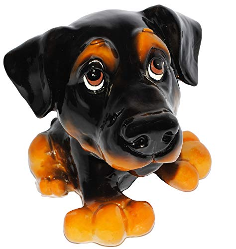 alles-meine.de GmbH Spardose - Hund - Dackel / Dobermann / Rottweiler - stabile Sparbüchse aus Kunstharz - Hundewelpe - Comic Hunde / Hundeschule - Sparschwein - lustig witzig - ..