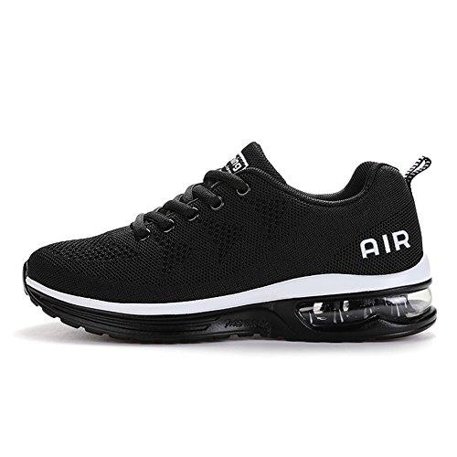 Axcone Hombre Mujer Zapatillas de Correr Casual Aire Libre Deporte Fitness Zapatillas de Running para Deportivos Entrenamiento-Blanco Negro 44