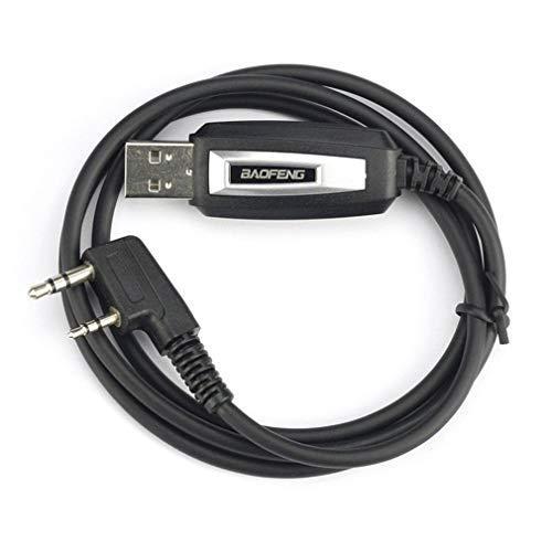 Kit de Cable USB Original y Duradero Cable de programación Walkie-Talkie para Baofeng GT-3 GT-3TP UV-5R UV-5RTP GT-5 GT-1 (Negro)