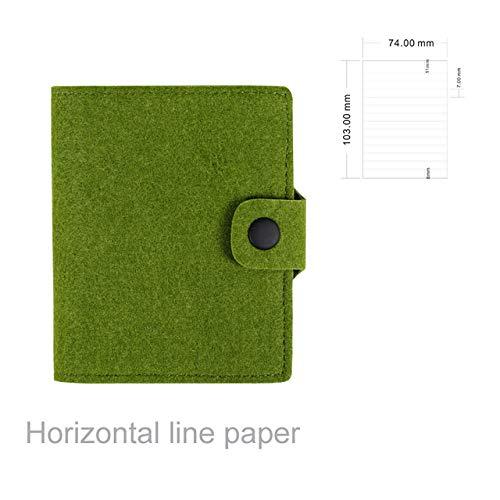 Notebook LKU Pocket notebook memoblok wolvilt Kladblok briefpapier cadeau reiziger dagboek tekst, groene lijn