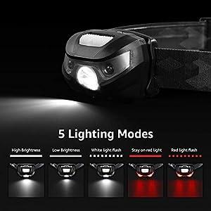 LE Linterna Frontal USB Recargable, 5 Modos de Luz, con Luz Roja, Ligera Elástica, para Ciclismo, Running, Correr, Deporte Nocturno, Pack de 2
