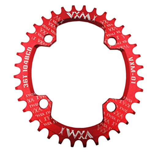 T TOOYFUL Alloy Bike Narrow Wide Kettenblatt 104mm BCD Oval Einzelkettenblatt Rad - Rot, 34T