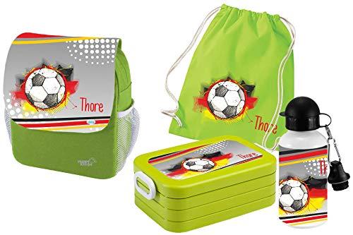 Mein Zwergenland   Personalisertes Kindergartenrucksack-Set   Kinderrucksack mit Name   Lunchbox Maxi mit Name   Turnbeutel aus Baumwolle mit Name   Personalisierte Trinkflasche   Grün   Fußball