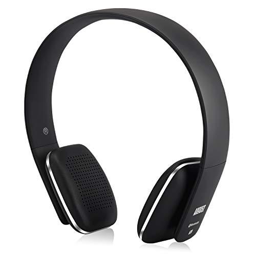 August EP636 - Bluetooth v4.1 NFC Kopfhörer - kabellose Bluetooth Stereo Kopfhörer mit Freisprechfunktion CVC6,0 Geräusch- und Echoreduktion und integriertem 14h Akku für Kinder Erwachsene - schwarz
