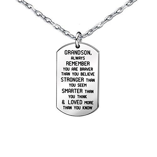 Halsketten, Geschenk für Enkelsohn aus Edelstahl, silberfarben, Hundemarken-Anhänger für Herren und Jungen