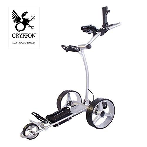 Elektro Golf Trolley GRYFFON Professional Ultimate silber mit Fernbedienung, Bergabfahrbremse und Lithium-Eisen Akku / 24V Lithium Elektro Caddy Golf / Elektro Trolley X2R-LTUS